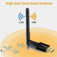 Wifi Adapter Single Antenna AC 600Mbps Dual Band 5Ghz / 2.4Ghz Long Range Wireless Adapter Support for Win Vista /7/8.1/10/XP/MAC 10.6-10.15