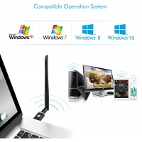 WiFi Adapter Single Antenna for PC Gaming 1300Mbps, USB 3.0 Wireless Adapter Dual Band 5GHz 802.11AC Wifi Antenna Windows XP/Vista/7/8/10 Mac 10.6-10.15