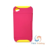 Apple iPhone 4G/4S - Pink Hard Case With Kickstand