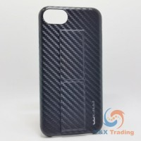 Apple iPhone 6 / 6S / 7 / 8 - WUW Black Carbon Fiber Case with Long Kickstand