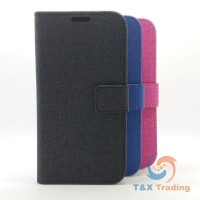 Apple iPhone 5 / 5S / SE - Cloth Leather Book Style Wallet Case with Strap