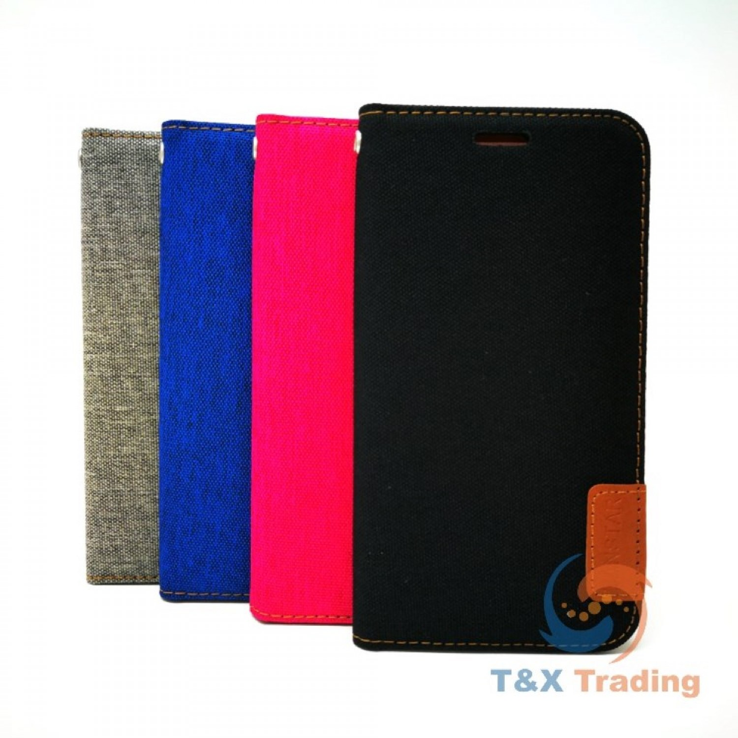 Apple iPhone 6 Plus / 7 Plus / 8 Plus - TanStar Fabric Wallet Case with Magnetic Closure
