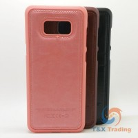 Samsung Galaxy S8 Plus - Leather Coated Silicone Hard Case