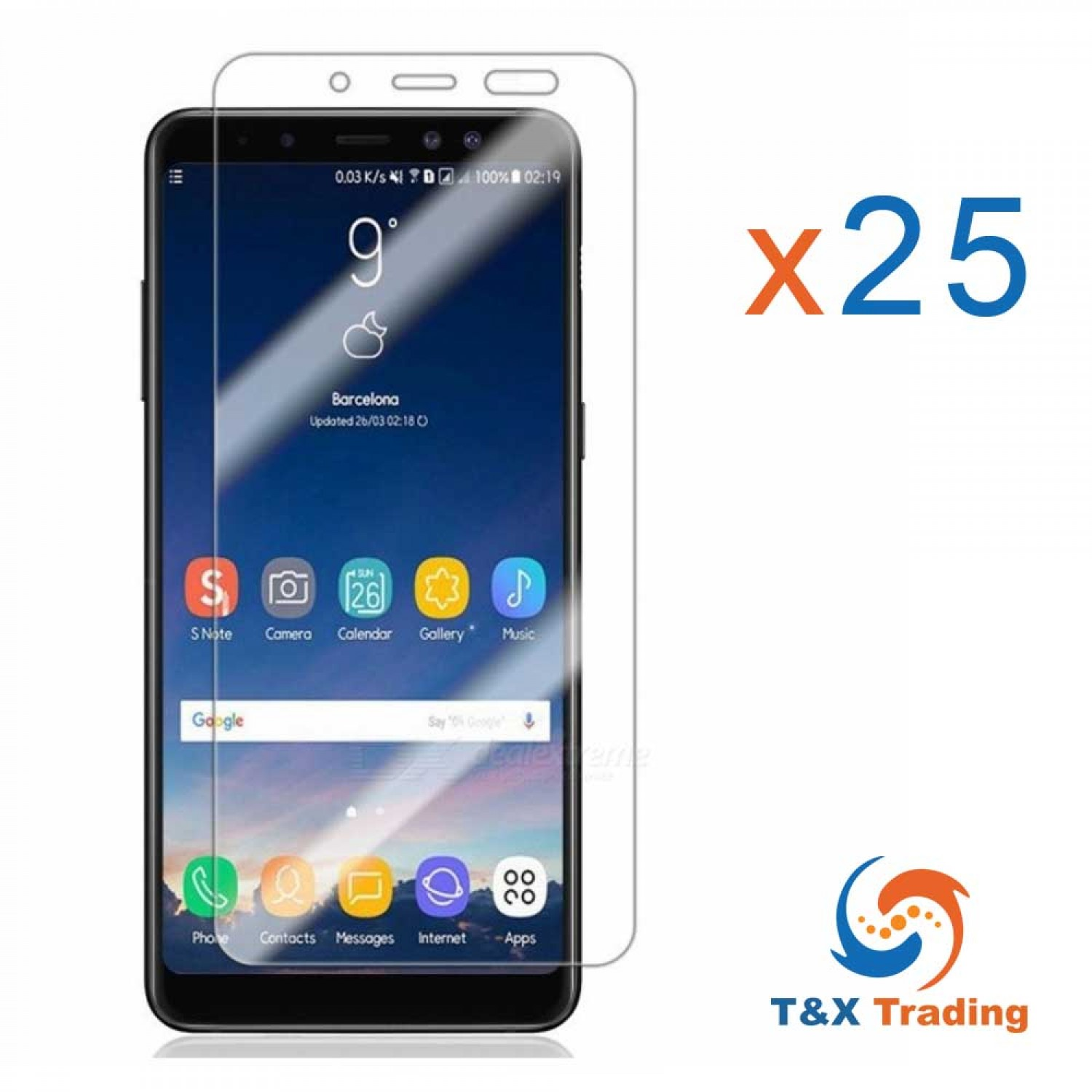 Samsung Galaxy A8 (2018) Bulk (25Pcs) Tempered Glass Screen