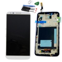 LCD digitizer assembly LG G2 D800 D801 D803 LS980 white with frame