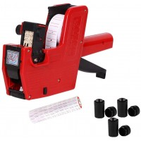 Single Row 8-Bit Price Marking Machine Price Tag Marking Machine Code Coding Machine MX5500 Price Marking Machine, A Free Roll of Label Paper and  Ink Wheels (Red)